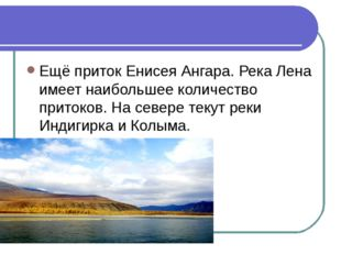 Ещё приток Енисея Ангара. Река Лена имеет наибольшее количество притоков. На