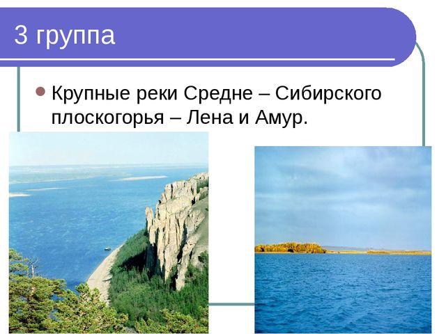 3 группа Крупные реки Средне – Сибирского плоскогорья – Лена и Амур.