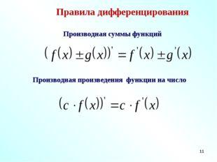 * Правила дифференцирования Производная суммы функций Производная произведени