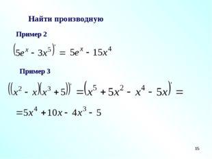 * Найти производную Пример 2 Пример 3