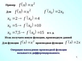 * Пример Для и т. д. Итак получаем новую функцию, производную данной Для функ