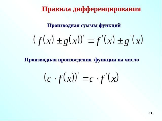 * Правила дифференцирования Производная суммы функций Производная произведени...