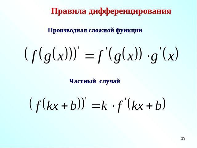 * Правила дифференцирования Производная сложной функции Частный случай
