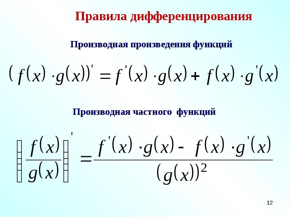 * Правила дифференцирования Производная произведения функций Производная част...