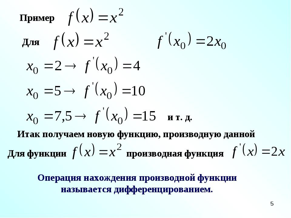 * Пример Для и т. д. Итак получаем новую функцию, производную данной Для функ...