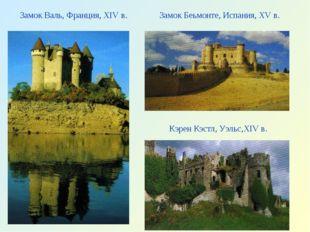 Замок Валь, Франция, XIV в. Замок Беьмонте, Испания, XV в. Кэрен Кэстл, Уэльс