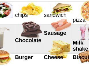 Salad chips sandwich pizza Milk Chocolate Sausage Milk shake Burger Cheese B