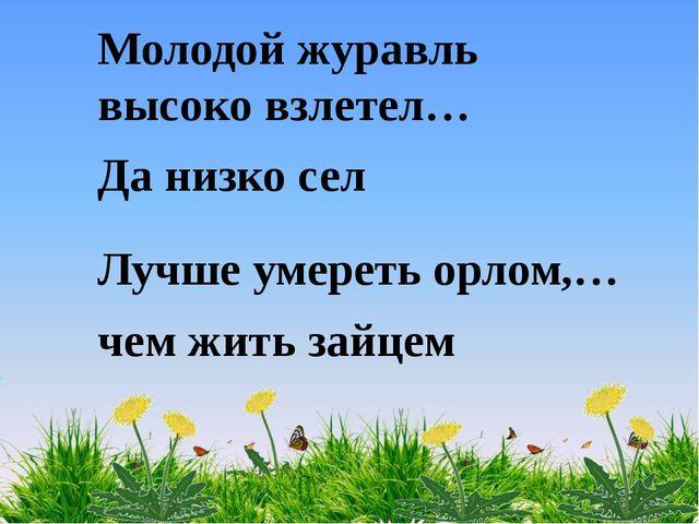 Молодой журавль высоко взлетел… Да низко сел Лучше умереть орлом,… чем жить з...