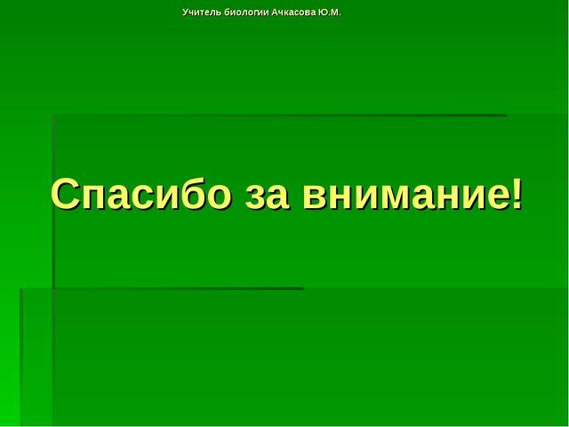 Учитель биологии Ачкасова Ю.М. Спасибо за внимание!