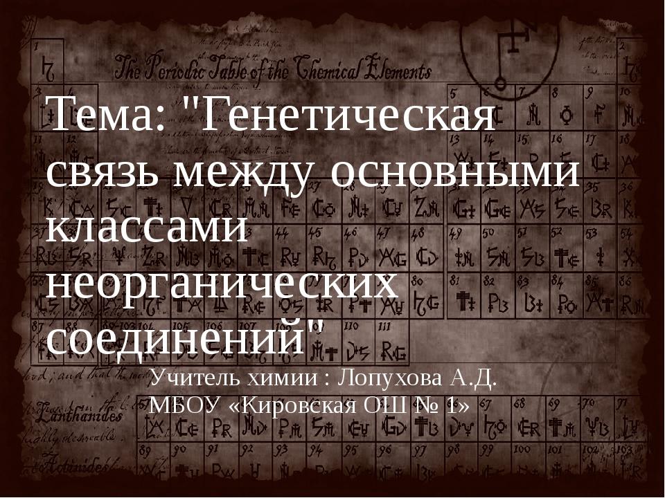 """Тема: """"Генетическая связь между основными классами неорганических соединений""""..."""