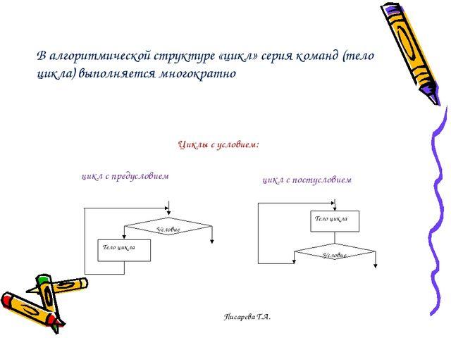 В алгоритмической структуре «цикл» серия команд (тело цикла) выполняется мног...