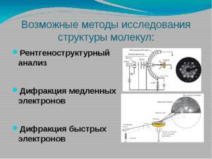 Возможные методы исследования структуры молекул: Рентгеноструктурный анализ Д