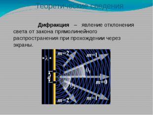 Дифракция – явление отклонения света от закона прямолинейного распространени