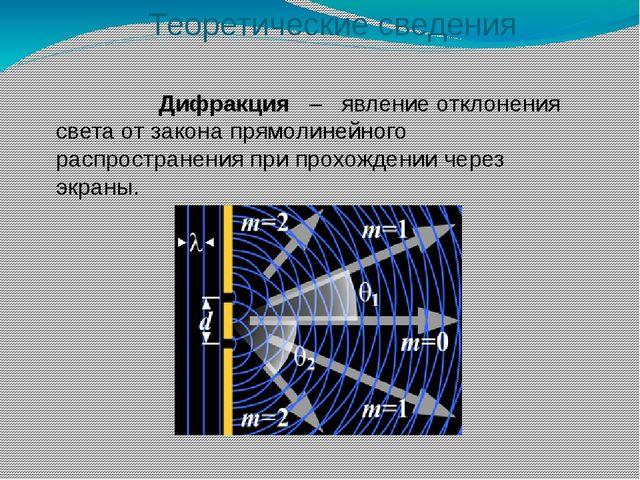 Дифракция – явление отклонения света от закона прямолинейного распространени...