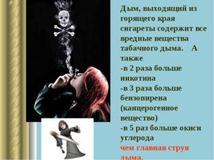 Дым, выходящий из горящего края сигареты содержит все вредные вещества табачн
