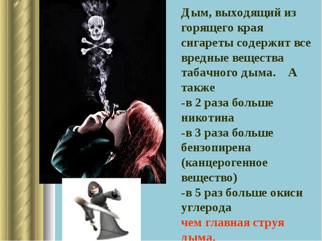 Дым, выходящий из горящего края сигареты содержит все вредные вещества табачн...