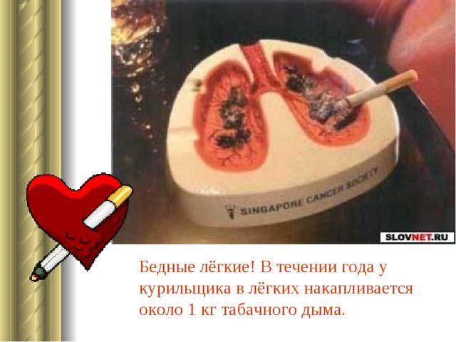 Бедные лёгкие! В течении года у курильщика в лёгких накапливается около 1 кг...