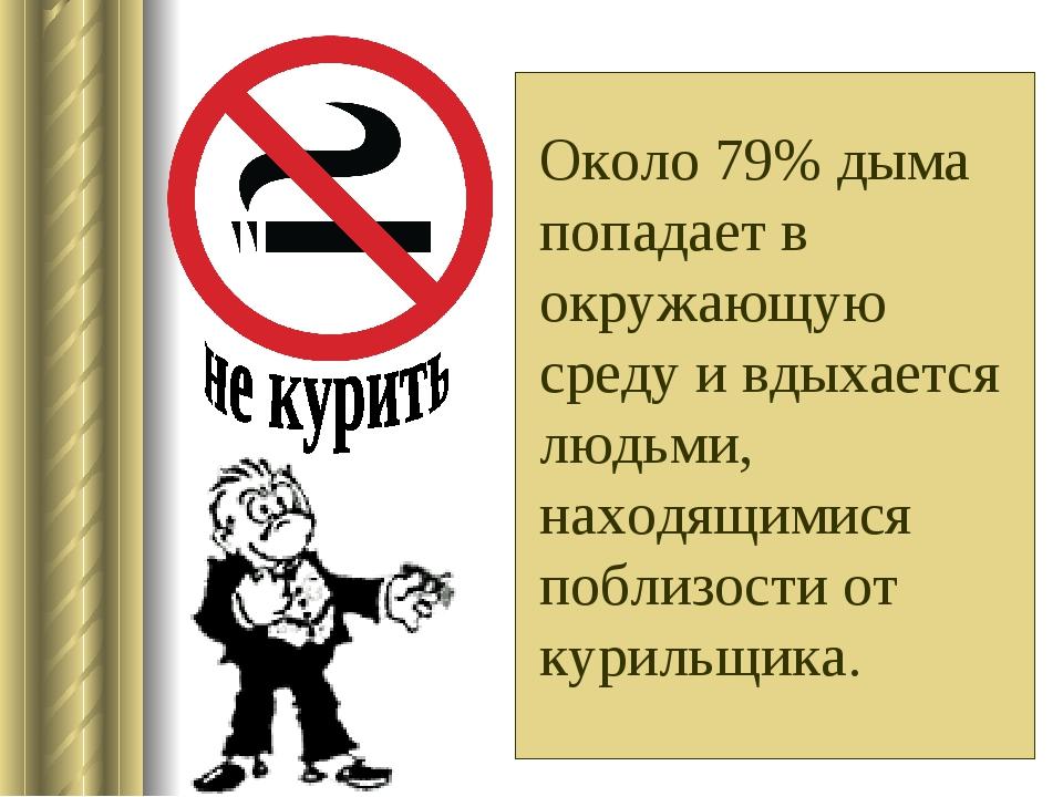 Около 79% дыма попадает в окружающую среду и вдыхается людьми, находящимися...