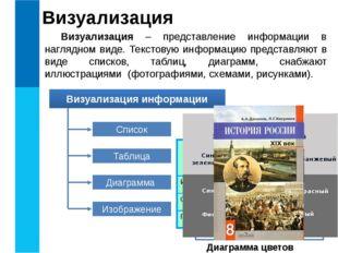 Визуализация Визуализация – представление информации в наглядном виде. Тексто