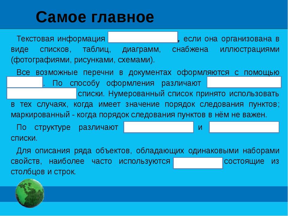 Самое главное Текстовая информация визуализирована, если она организована в в...