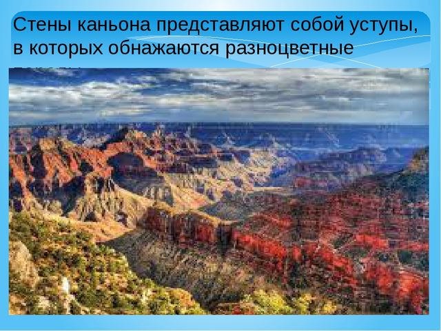 Стены каньона представляют собой уступы, в которых обнажаются разноцветные по...