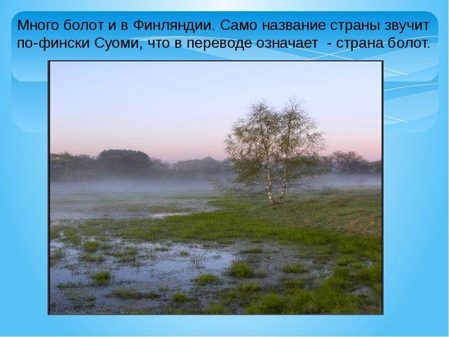 Много болот и в Финляндии. Само название страны звучит по-фински Суоми, что в...