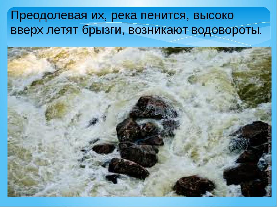 Преодолевая их, река пенится, высоко вверх летят брызги, возникают водовороты.