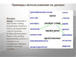 Примеры использования на уроках: Русского языка:составление и заполнение та