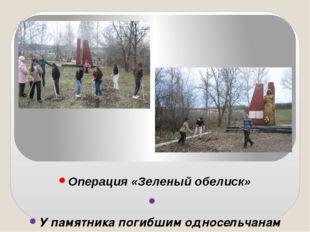 Операция «Зеленый обелиск»  У памятника погибшим односельчанам учащиеся МКО