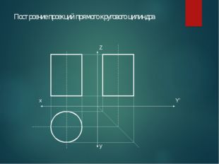 Построение проекций прямого кругового цилиндра Z y Y' х