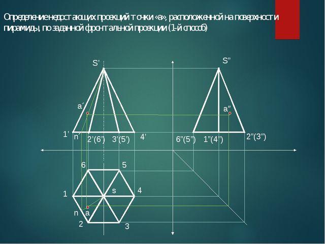 Определение недостающих проекций точки «а», расположенной на поверхности пира...