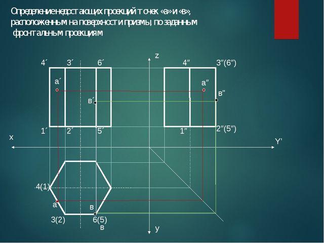 Определение недостающих проекций точек «а» и «в», расположенным на поверхност...
