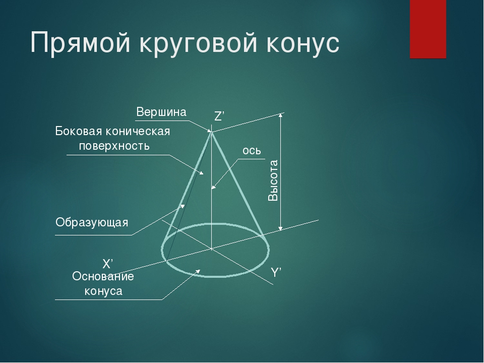 Прямой круговой конус X' Y' Z' Вершина Высота ось Боковая коническая поверхно...