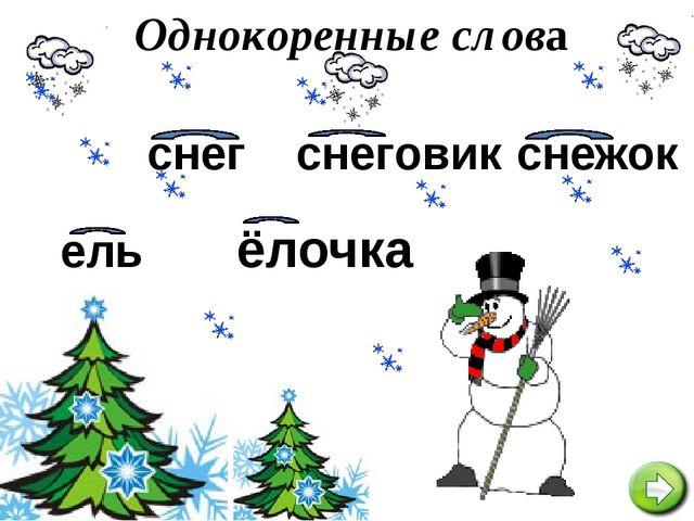 снежок ель ёлочка снег снеговик Однокоренные слова
