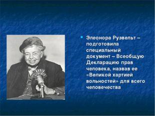 Элеонора Рузвельт – подготовила специальный документ – Всеобщую Декларацию пр