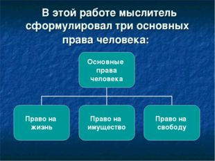 В этой работе мыслитель сформулировал три основных права человека: