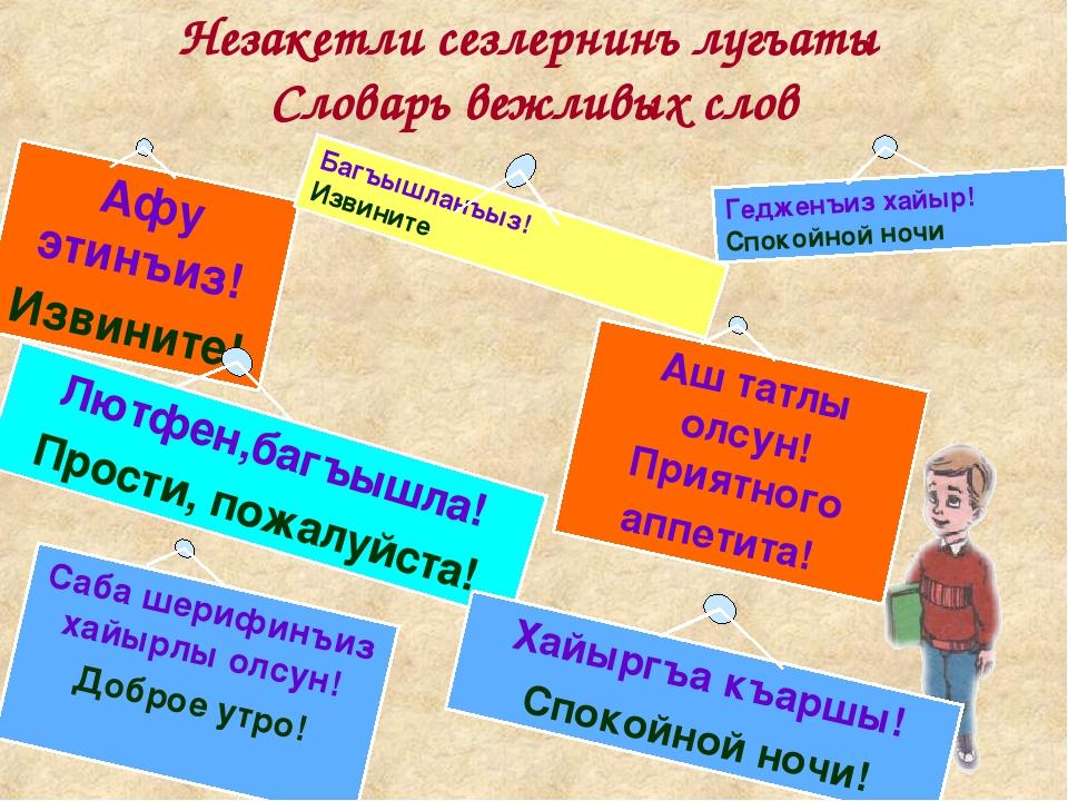 Незакетли сезлернинъ лугъаты Словарь вежливых слов