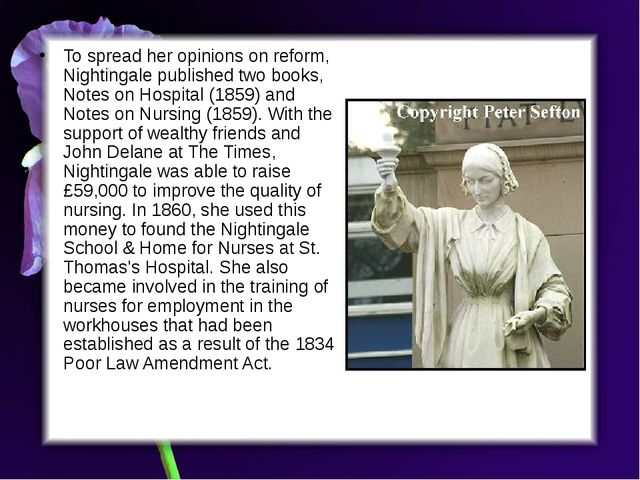 To spread her opinions on reform, Nightingale published two books, Notes on H...