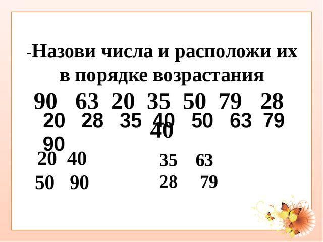-Назови числа и расположи их в порядке возрастания 90 63 20 35 50 79 28 40 2...