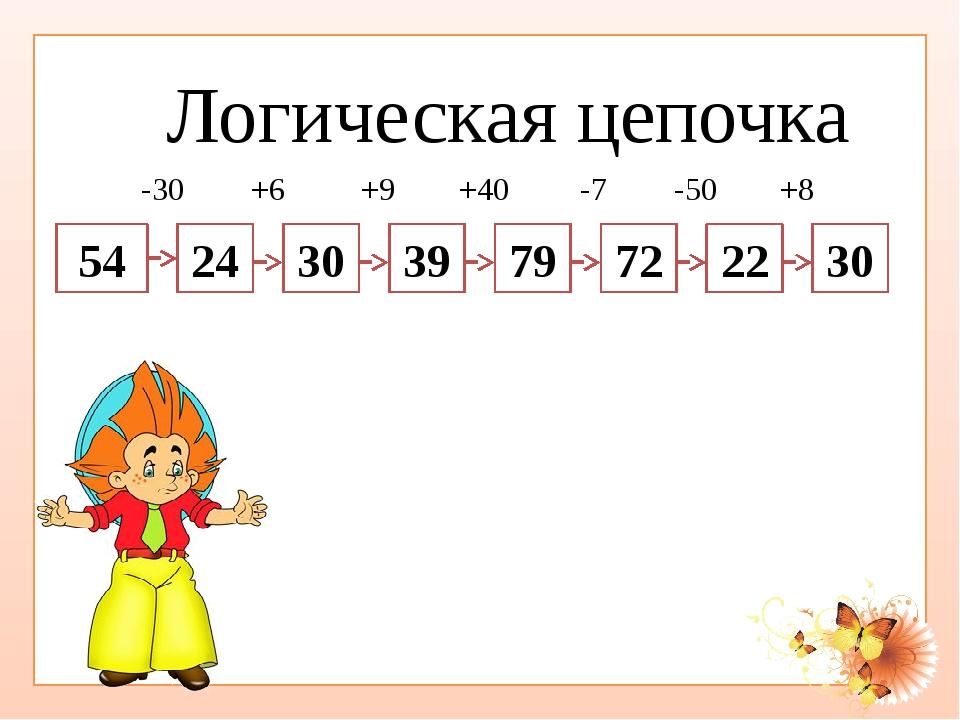 Логическая цепочка 54 24 30 39 79 72 22 30 -30 +6 +9 +40 -7 -50 +8