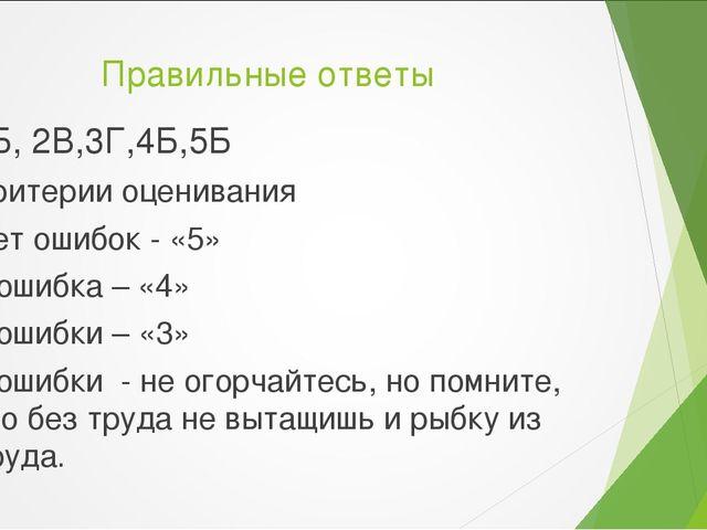 Правильные ответы 1Б, 2В,3Г,4Б,5Б Критерии оценивания Нет ошибок - «5» 1 ошиб...