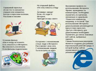 Внутренние правила по использованию Интернета Время, проводимое за компьютеро