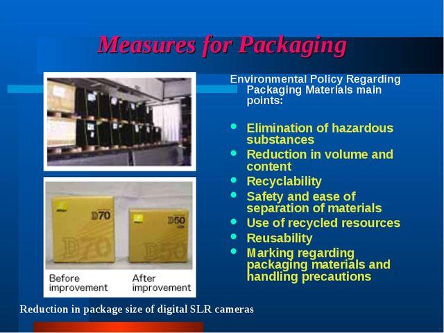 Measures for Packaging Environmental Policy Regarding Packaging Materials mai...