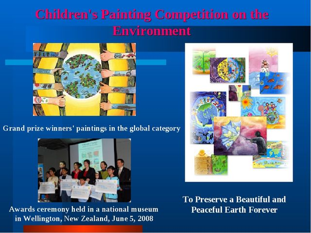 Children's Painting Competition on the Environment Awards ceremony held in a...