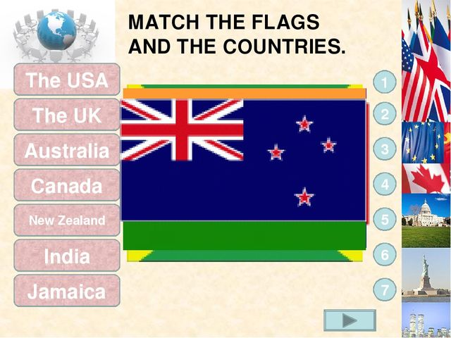 MATCH THE FLAGS AND THE COUNTRIES. The USA 7 6 5 4 3 2 1 The UK Australia Can...
