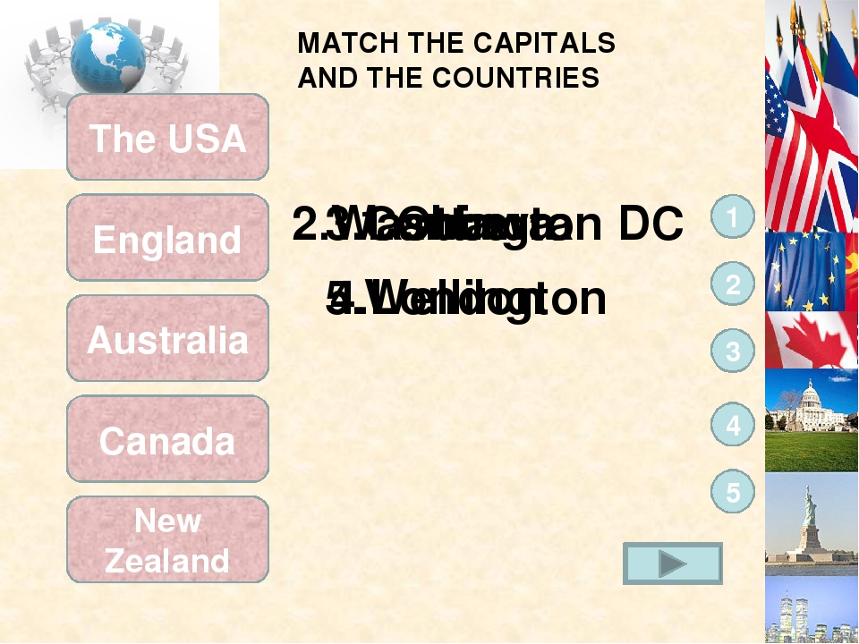 MATCH THE CAPITALS AND THE COUNTRIES New Zealand Canada Australia England The...