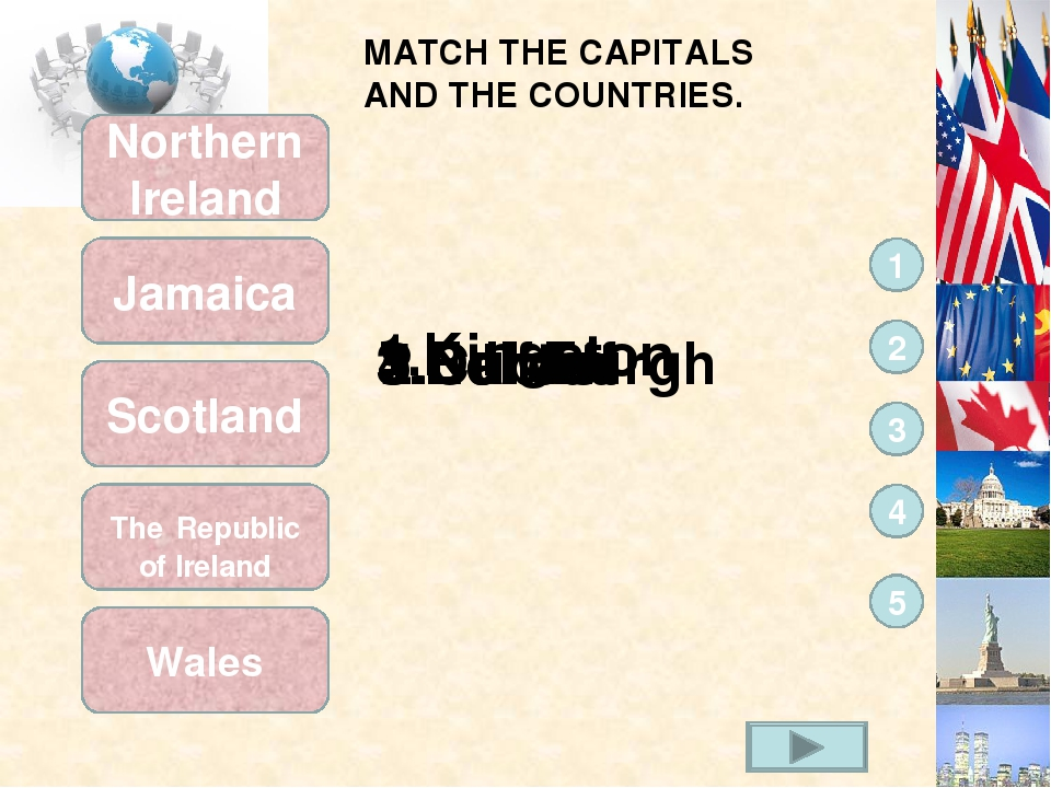 MATCH THE CAPITALS AND THE COUNTRIES. Wales The Republic of Ireland Scotland...