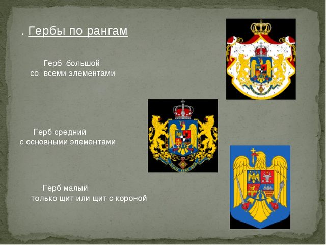 . Гербы по рангам Герб большой со всеми элементами Герб средний с основными э...