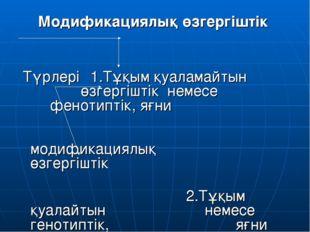 Модификациялық өзгергіштік Түрлері 1.Тұқым қуаламайтын өзгергіштік немесе