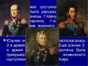 Русская армия состояла из 210 тыс. человек и была рассредоточена вдоль западн